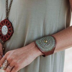 Grecian leather cuff bracelet